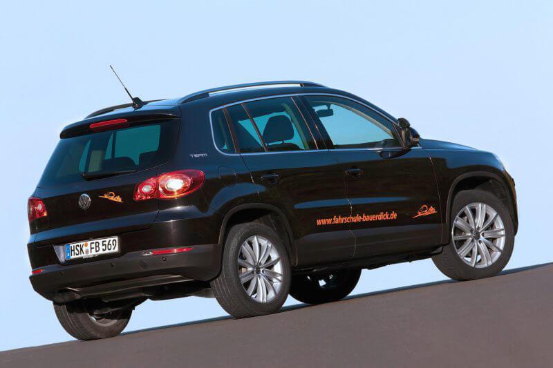 Unser VW Tiguan mit Automatik, den wir insbesondere für Anhänger-Fahrten einsetzen